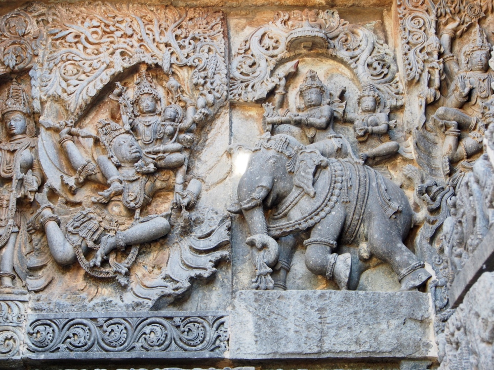 Panel of Airavata with Indira, Garuda with Vishnu